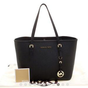 Michael Kors jet black tote purse